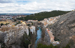 River Jucar under the hill in Cuenca, Spain Stock Photo