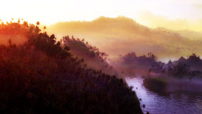 River Through The Jungle. River going through a dense jungle landscape Stock Photography