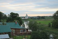 The city of Suzdal. On the river Kamenka in Suzdal Golden ring of Russia Royalty Free Stock Photo