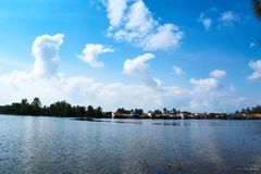 River in Kampot Cambodia on summer vaccation royalty free stock photo