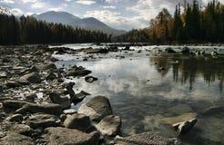 River by Kanas Lake. Altai mountain region, Xinjiang province, China Stock Photo