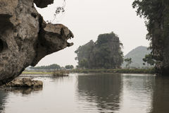 River and karst mountains. Nimh Binh, Vietnam. Royalty Free Stock Photo