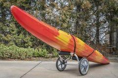 River kayak on a cart Stock Images