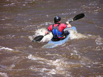 River Kayaker 3. Solo kayaker on the Cache la Poudre River near Fort Collins, CO Stock Photos