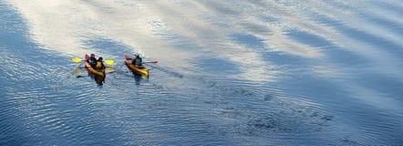 Family River Kayaking on Oregon Waterway Stock Images