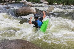River Kayaking as extreme and fun sport. royalty free stock photos
