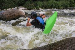 River Kayaking as extreme and fun sport. royalty free stock images