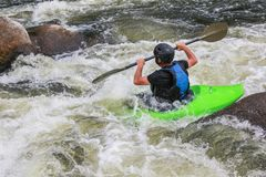 River Kayaking as extreme and fun sport. royalty free stock photo