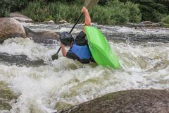River Kayaking as extreme and fun sport. Life in motion. stock image
