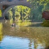 River Kelvin Kayaking. Kayak River Kelvin Queen Margaret Bridge Glasgow Botanic Gardens Royalty Free Stock Photography