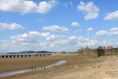 River Kent esturay, Arnside Pier and viaduct. Royalty Free Stock Photos