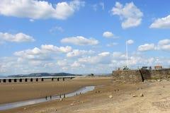 River Kent esturay, Arnside Pier and viaduct. Royalty Free Stock Photos