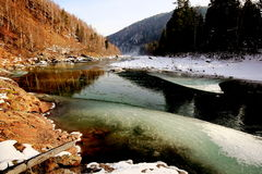 The river Khara-Murin in Pribaikalye in the fall Stock Photography