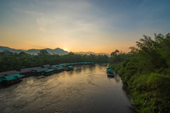 River Khwae Sunrise. The river kwai in Thailand holds so much history. These days so many resorts have opened up that allow you to stay and float on the river Stock Photography