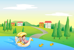 A river and kids stock illustration