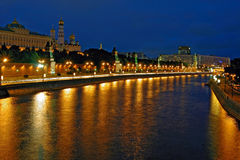 River and kremlin. The nightly landscape of capital of Russia is the cities of Moscow Royalty Free Stock Photo