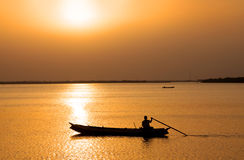 River Krishna. Early morning fishing in the river Krishna Royalty Free Stock Image