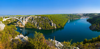 River Krka, bridge and town in Croatia Stock Photo