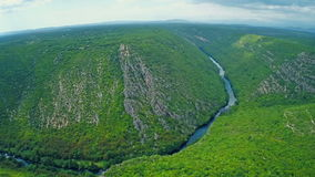 River Krka canyon aerial stock footage