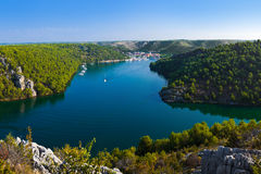 River Krka and town in Croatia Royalty Free Stock Photo
