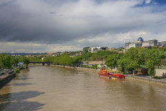 River Kura and residence of Georgian President in Tbilisi Stock Photography