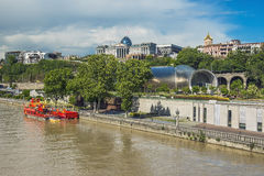 River Kura and residence of Georgian President in Tbilisi Stock Images
