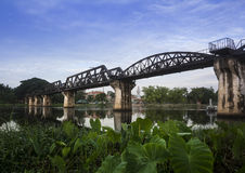 River kwai bridge. Kanchanaburi, in Myanmar border, is home to the famous Bridge River Kwai. During WW II, Japan constructed the meter-gauge railway line from Stock Images