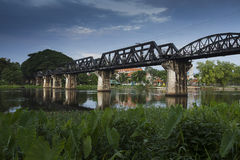 River kwai bridge. Kanchanaburi, in Myanmar border, is home to the famous Bridge River Kwai. During WW II, Japan constructed the meter-gauge railway line from Royalty Free Stock Image