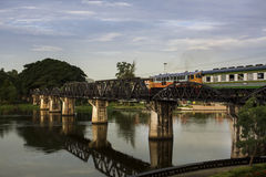 River kwai bridge. Kanchanaburi, in Myanmar border, is home to the famous Bridge River Kwai. During WW II, Japan constructed the meter-gauge railway line from Stock Image
