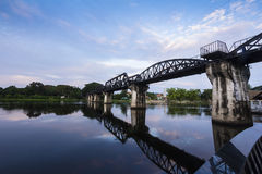 River kwai bridge. Kanchanaburi, in Myanmar border, is home to the famous Bridge River Kwai. During WW II, Japan constructed the meter-gauge railway line from Stock Photos