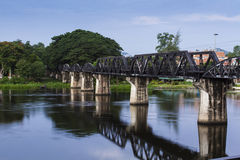 River kwai bridge. Kanchanaburi, in Myanmar border, is home to the famous Bridge River Kwai. During WW II, Japan constructed the meter-gauge railway line from Royalty Free Stock Images