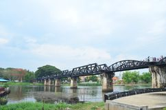 River Kwai Bridge. The River Kwai Bridge in Kanchanaburi Thailand stock photo