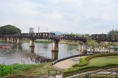 River Kwai Bridge. The River Kwai Bridge in Kanchanaburi Thailand stock photography