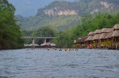 River Kwai. The river Kwai raft house stock image