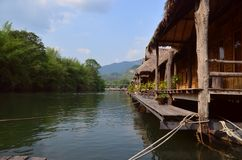 River Kwai. Raft house royalty free stock photo