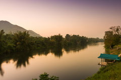 River Kwai at sunset time , Kanchanaburi, Thailand Stock Images