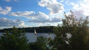 River. Kyiv, Ukraine, nature, water, trees, sailboat royalty free stock photography
