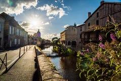 River La Bave in Saint Céré. At sunset in the Occitanie region Stock Photos