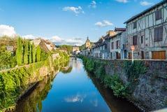 River La Bave in Saint Céré at sunset. Bave river in Saint Céré Occitanie France Royalty Free Stock Image