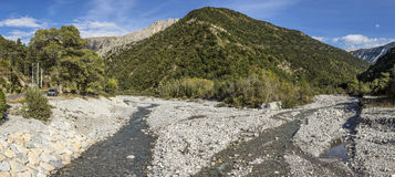 River La Bleone near Prads in region Alpes de haute Provence. With mountains Royalty Free Stock Photo