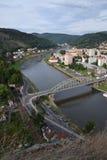 River Labe in Decin, Czech Republic. Panoramic view of the river Labe in Decin, Czech Republic Royalty Free Stock Photo