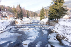 River Labe Elbe with ice in winter in the ski areal Spindleruv Mlyn Stock Images