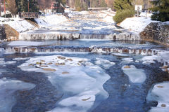 River Labe Elbe with ice in winter in the ski areal Spindleruv Mlyn Stock Image