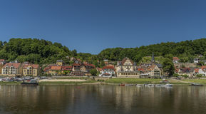 River Labe or Elbe in Stadt Wehlen. In national park Royalty Free Stock Images