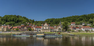 River Labe or Elbe in Stadt Wehlen. In national park Royalty Free Stock Photo