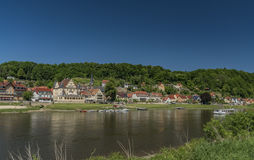 River Labe or Elbe in Stadt Wehlen. In national park Stock Photo