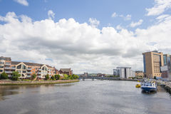 River Lagan in Belfast. View of the River Lagan in Belfast, Northern Ireland stock photos