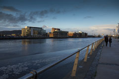 River Lagan and the Dock area Belfast at Sunset Royalty Free Stock Image