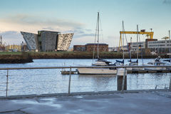 River Lagan, Dock area, and Titanic Museum  Belfast at sunset Royalty Free Stock Images
