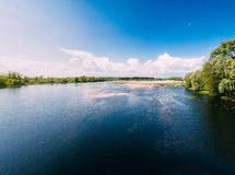 River Or Lake Landscape. Ripple Surface Of Calm Water At Sunny Day Stock Image